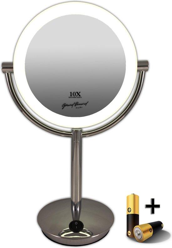 Gérard Brinard verlichte make up spiegel LED spiegel incl. batterij - 10x vergroting - Ø19cm spiegels