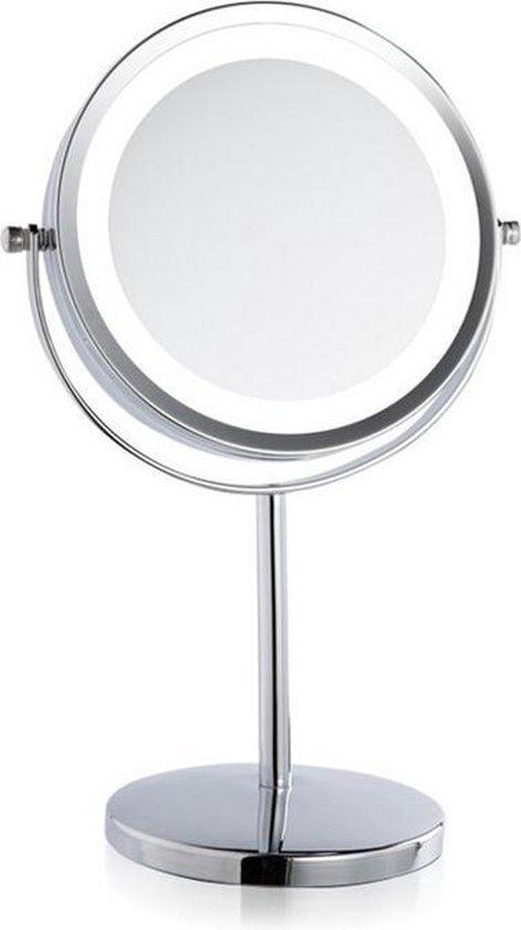 Ninzer® 7 inch RVS Make-up Spiegel 3x Vergroting met LED, Dubbelzijdig