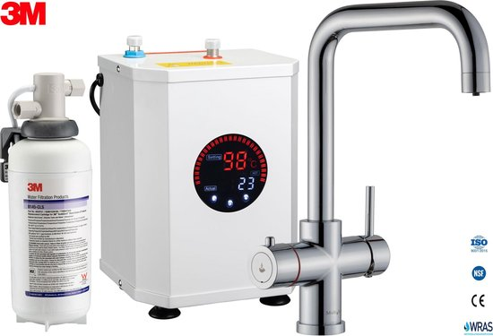3in1 Multi -Tap kokend water kraan & 3M waterfilter - L-uitloop-Chroom