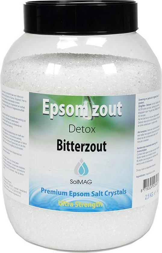 Epsom zout-Bitterzout -Magnesiumsulfaat - Badzout - 2,5 kg - in luxe pot