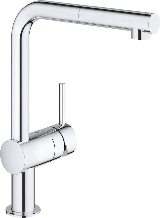 GROHE Minta Keukenkraan - L-uitloop - uittrekbare handdouche - chroom - 32168000
