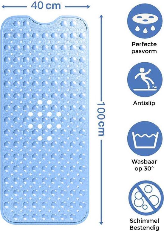 Nince Badmat Anti slip van Hoge Kwaliteit (Blauw) - 100x40 cm - Douchemat Antislip - Mat voor in Bad