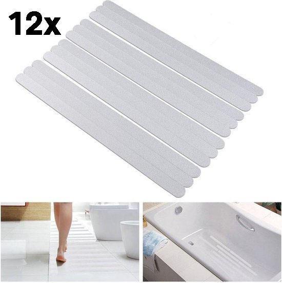 Zelfklevende Antislip Stickers - Antislip Strips 12 STUKS - 20x2 CM - Douche/Bad/Trap Plakstrip