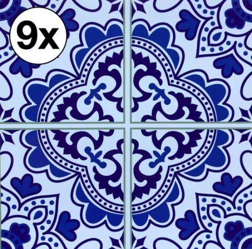 9 Tegelstickers 10x10CM | Meerdere Maten Beschikbaar | Portugese Arabische Stickertegel Stickertegels | Badkamertegels Keukentegels Spatwand Achterwand Keuken | Tegelsticker...