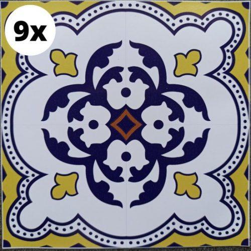 9 Tegelstickers 12x12CM | Meerdere Maten Beschikbaar | Portugese Arabische Stickertegel Stickertegels | Badkamertegels Keukentegels Spatwand Achterwand Keuken | Tegelsticker...