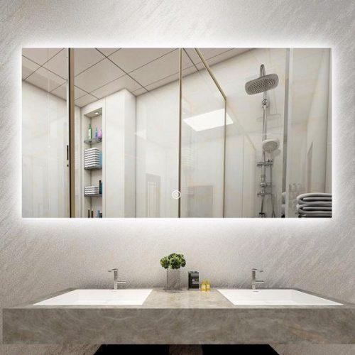 Badkamerspiegel frameloos met led, anticondens 60 x 100 cm - Bella Mirror