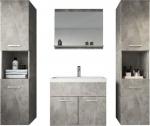 Badplaats – Badkamermeubel Montreal XL 60cm – Beton – Badmeubel met spiegel en twee zijkasten