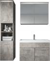 Badplaats – Badkamermeubel Paso LED 80cm – Beton – Badmeubel met spiegelkast en zijkast