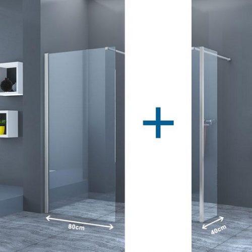 Inloopdouche Eco Nano met Zijwand 80x200cm 40x200cm Antikalk Helder Glas Chroom Profiel 8mm Veiligheidsglas Easy Clean