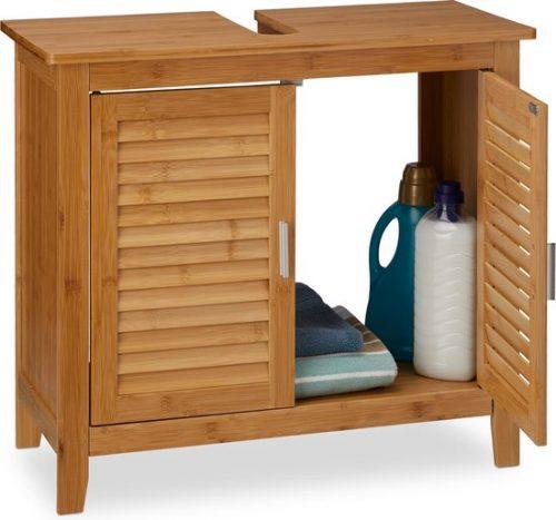 relaxdays wastafelonderkast - badkamerkast bamboe - wastafelkast badkamer - hout