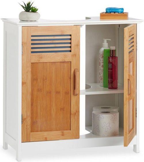 relaxdays wastafelonderkast bamboe - wastafelkast - badkamerkast - onderkast - wit-bruin