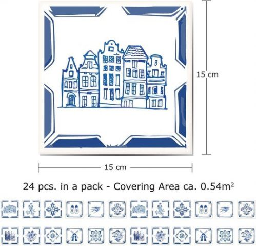 Walplus Decoratie Sticker Delfts Blauw 5x15 Cm 24 Stuks