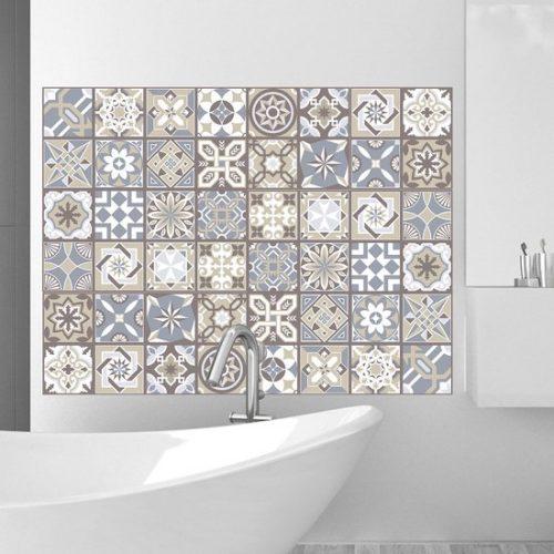 Walplus Spaans Kalksteen - Muursticker/Tegelsticker - Multicolor - 20x20 cm - 12 stuks